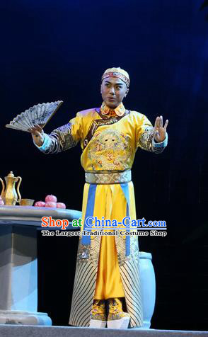 You Bai Chuan Chinese Lu Opera Young Male Apparels Costumes and Headpieces Traditional Shandong Opera Monarch Garment Qing Dynasty Emperor Tongzhi Clothing