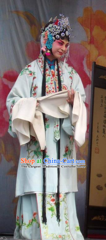 Chinese Henan Opera Hua Tan Garment Costumes and Headdress Feng Xue Pei Traditional Qu Opera Rich Lady Apparels Diva Gao Qingfang Blue Dress