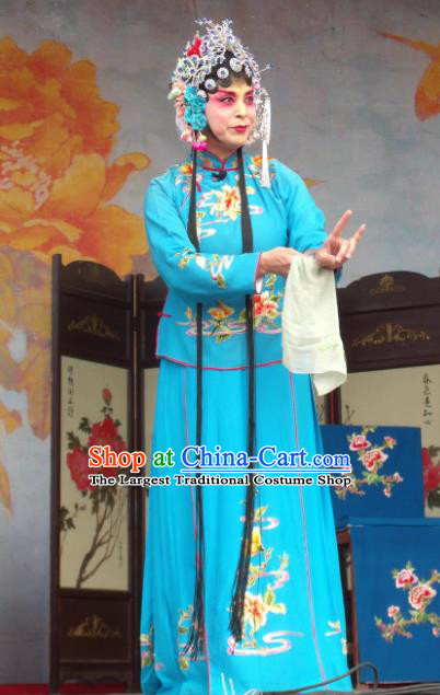 Chinese Henan Opera Young Female Gao Qiufang Garment Costumes and Headdress Feng Xue Pei Traditional Qu Opera Rich Lady Apparels Actress Blue Dress