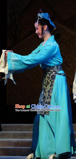 Chinese Shandong Opera Country Woman Garment Costumes and Headdress Hua Long Dian Jing Traditional Lu Opera Young Female Apparels Actress Si Niang Blue Dress