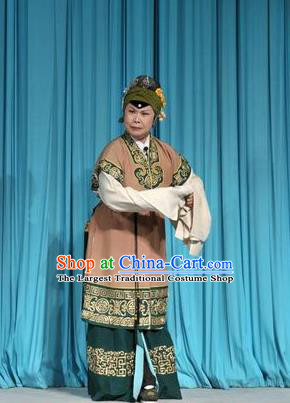 Chinese Shandong Opera Laodan Garment Costumes and Headdress Forced Marriage Traditional Lu Opera Elderly Female Apparels Dame Lan Dress