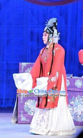 Chinese Shandong Opera Actress Garment Costumes and Headdress Forced Marriage Traditional Lu Opera Hua Tan Apparels Diva Hong Meirong Red Dress