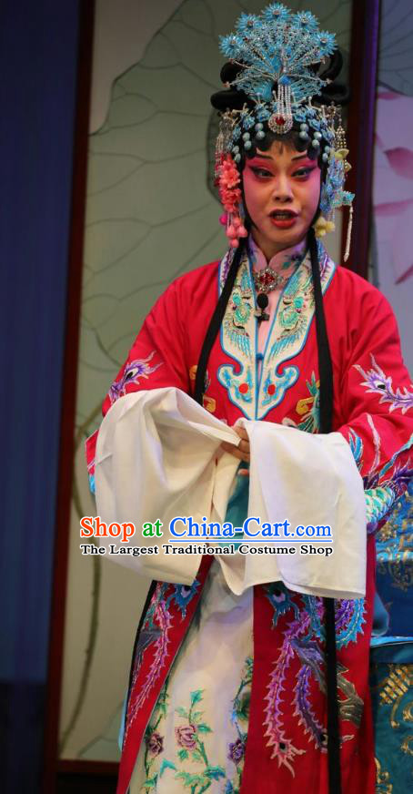 Chinese Shandong Opera Actress Hong Meirong Garment Costumes and Headdress Forced Marriage Traditional Lu Opera Hua Tan Apparels Noble Female Red Dress