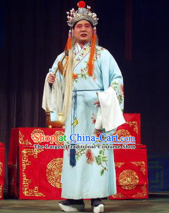 Jiu Ling Jiu Zhu Chinese Qu Opera Old Eunuch Apparels Costumes and Headpieces Traditional Henan Opera Elderly Male Garment Palace Servant Clothing