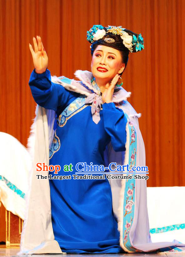 Chinese Beijing Opera Hua Tan Garment Costumes and Headdress Shao Nian Tian Zi Traditional Qu Opera Diva Wu Yunzhu Apparels Qing Dynasty Imperial Consort Blue Dress