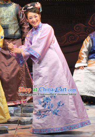 Chinese Beijing Opera Actress Garment Costumes and Headdress Under the Red Banner Traditional Qu Opera Young Mistress Apparels Purple Dress