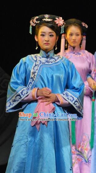 Chinese Beijing Opera Qing Dynasty Garment Costumes and Headdress Under the Red Banner Traditional Qu Opera Actress Apparels Young Female Blue Dress