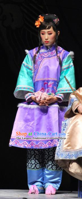 Chinese Beijing Opera Qing Dynasty Young Lady Garment Costumes and Headdress Under the Red Banner Traditional Qu Opera Xiaodan Apparels Actress Purple Dress