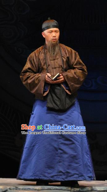 Under the Red Banner Chinese Qu Opera Adviser Apparels Costumes and Headpieces Traditional Beijing Opera Laosheng Garment Qing Dynasty Elderly Male Clothing