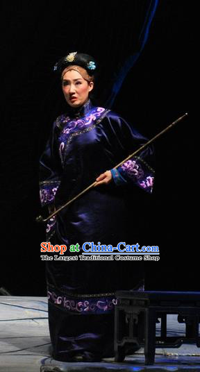 Chinese Beijing Opera Qing Dynasty Elderly Female Garment Costumes and Headdress Under the Red Banner Traditional Qu Opera Pantaloon Apparels Dame Dress