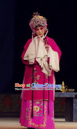 Chinese Henan Opera Young Lady Garment Costumes and Headdress The Romance of Hairpin Traditional Qu Opera Hua Tan Apparels Actress Qian Yulian Rosy Dress