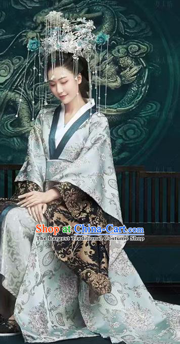 Chinese Drama Ancient Royal Queen Dress Traditional Hanfu Apparels Qin Dynasty Imperial Empress Historical Costumes and Headwear Complete Set