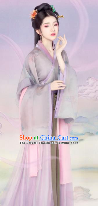 Chinese Drama Ancient Noble Lady Dress Traditional Hanfu Apparels Song Dynasty Patrician Female Historical Costumes and Headpieces Complete Set