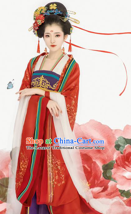 Chinese Drama Ancient Royal Princess Dress Traditional Goddess Dance Hanfu Apparels Tang Dynasty Imperial Consort Historical Costumes and Headpieces for Women