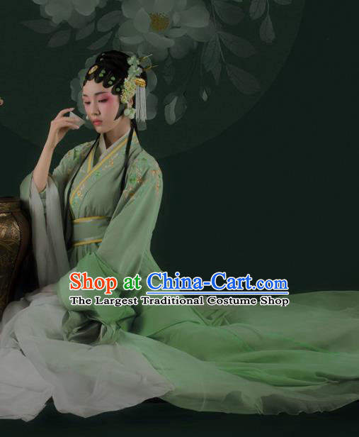 Chinese Drama Ancient Noble Female Green Dress Traditional Beijing Opera Hanfu Apparels Ming Dynasty Patrician Lady Historical Costumes and Headdress Complete Set