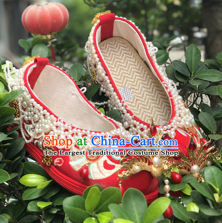 Chinese Traditional Wedding Red Embroidered Shoes Cloth Shoes Hanfu Shoes Ancient Princess Pearls Bow Shoes for Women