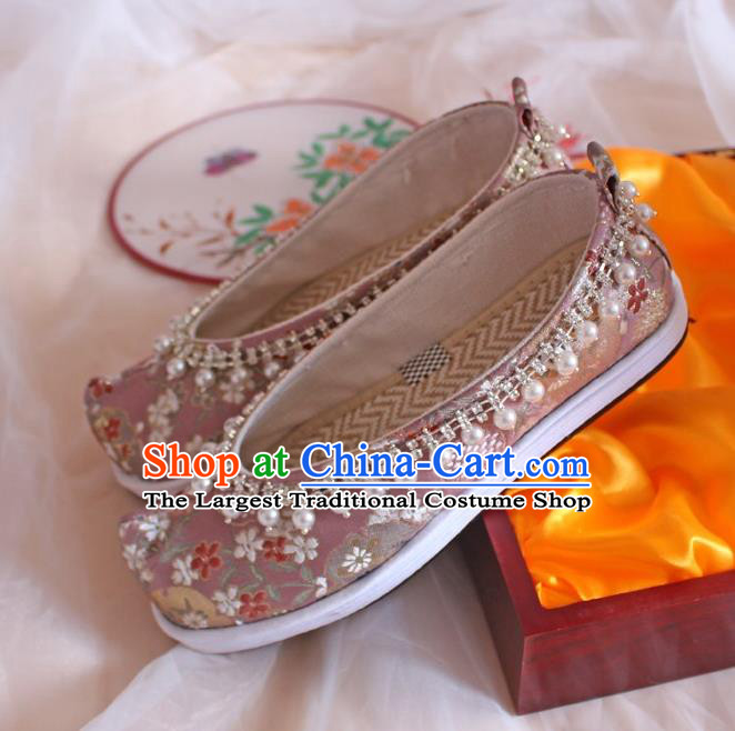 Chinese Traditional Pearls Hanfu Shoes Handmade Wedding Pink Satin Shoes Women Embroidered Shoes Ancient Princess Shoes