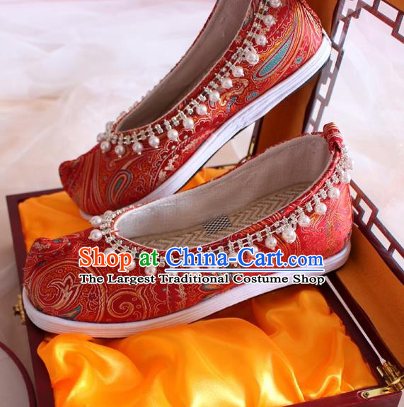 Chinese Handmade Wedding Red Satin Shoes Traditional Pearls Hanfu Shoes Women Embroidered Shoes Ancient Princess Shoes
