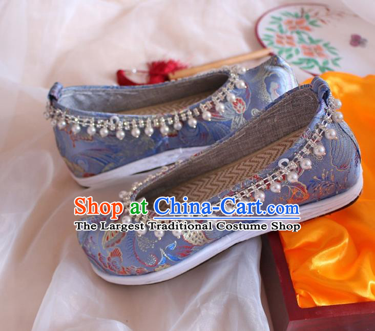 Chinese Handmade Blue Satin Shoes Traditional Pearls Hanfu Shoes Women Embroidered Shoes Ancient Princess Wedding Shoes