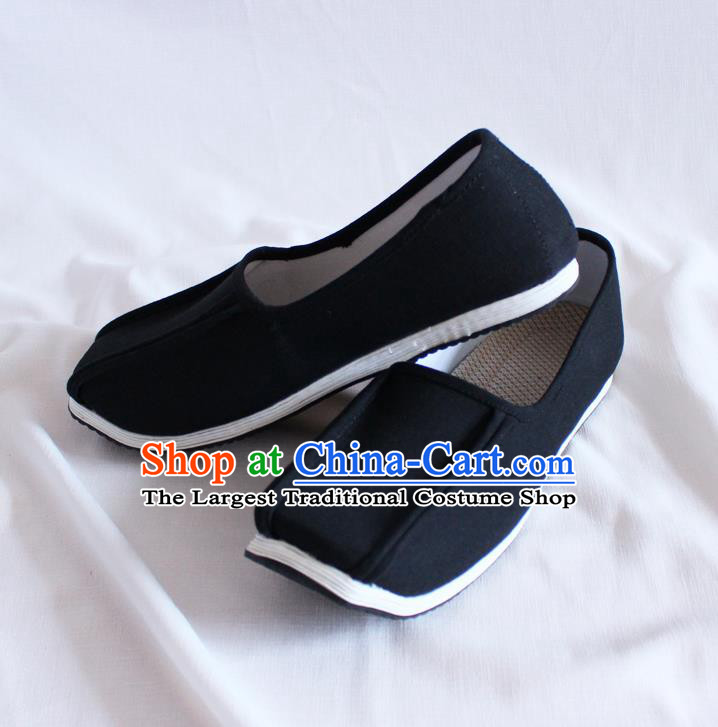 Chinese Handmade Black Cloth Shoes Traditional Han Dynasty Hanfu Shoes Ancient Scholar Shoes