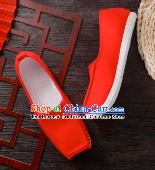 Chinese Handmade Red Cloth Shoes Traditional Han Dynasty Wedding Hanfu Shoes Ancient Scholar Multilayer Soles Shoes