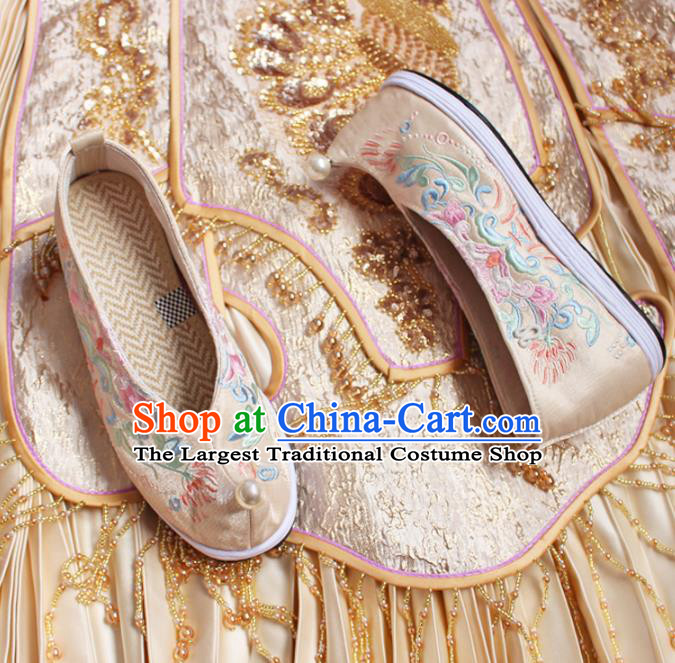 Chinese Traditional Embroidered Shoes Handmade Cloth Shoes Hanfu Shoes Ancient Princess Pearls Become Warped Head Shoes for Women