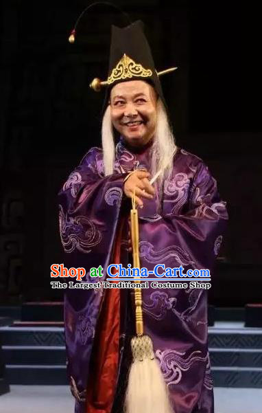 You Meng Yi Guan Chinese Hubei Hanchu Opera Elderly Male Apparels Costumes and Headpieces Traditional Han Opera Eunuch Garment Clothing