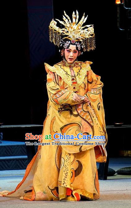 Chinese Han Opera Empress Garment Costumes and Headdress You Meng Yi Guan Traditional Hubei Hanchu Opera Hua Tan Apparels Queen Fan Ji Dress