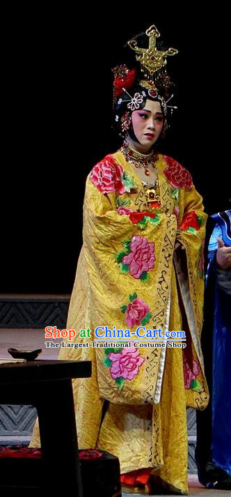 Chinese Han Opera Noble Female Garment Costumes and Headdress You Meng Yi Guan Traditional Hubei Hanchu Opera Hua Tan Apparels Empress Fan Dress