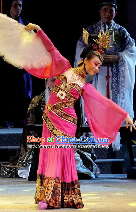 Chinese Han Opera Actress Garment Costumes and Headdress You Meng Yi Guan Traditional Hubei Hanchu Opera Hua Tan Apparels Dance Lady Rosy Dress