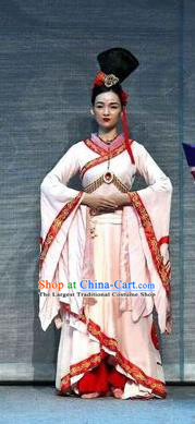 Chinese Han Opera Court Maid Garment Costumes and Headdress You Meng Yi Guan Traditional Hubei Hanchu Opera Xiaodan Apparels Palace Lady Dress