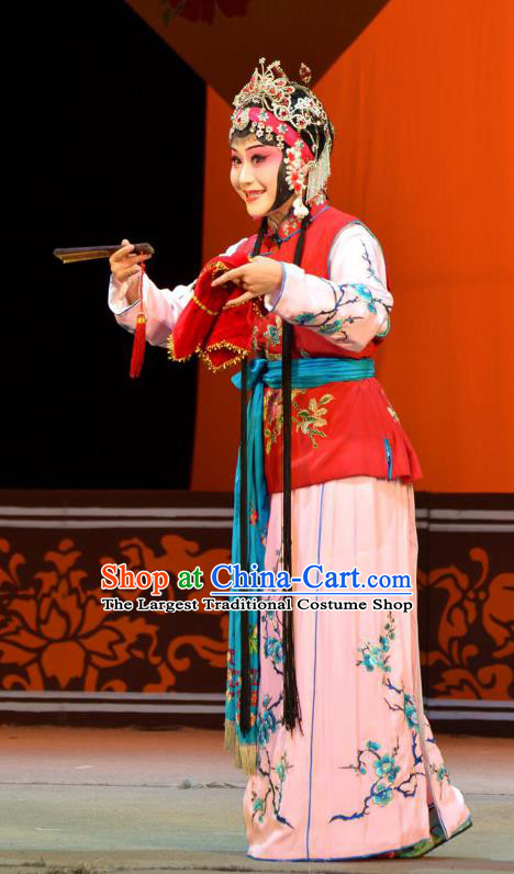 Chinese Han Opera Servant Girl Garment Mei Ying Costumes and Headdress Traditional Hubei Hanchu Opera Xiaodan Apparels Maid Lady Dress