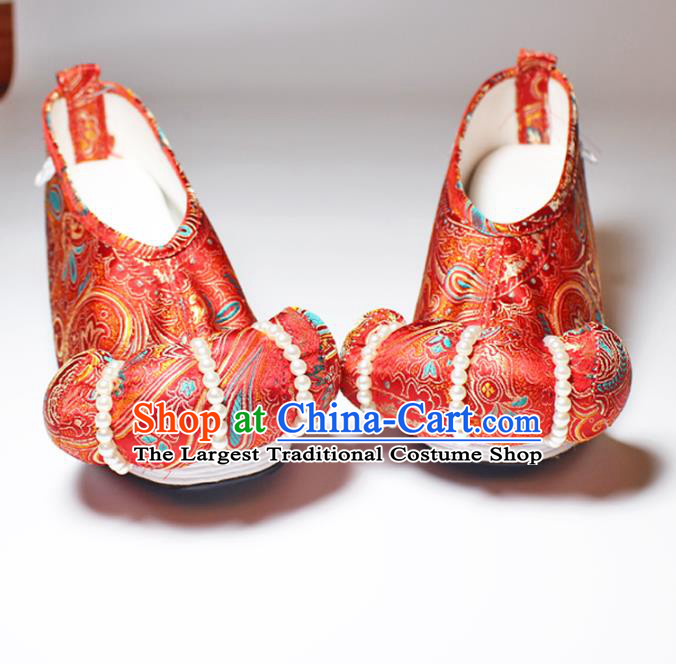 Chinese Traditional Handmade Red Satin Pearls Shoes Women Hanfu Shoes Ancient Princess Shoes Embroidered Shoes