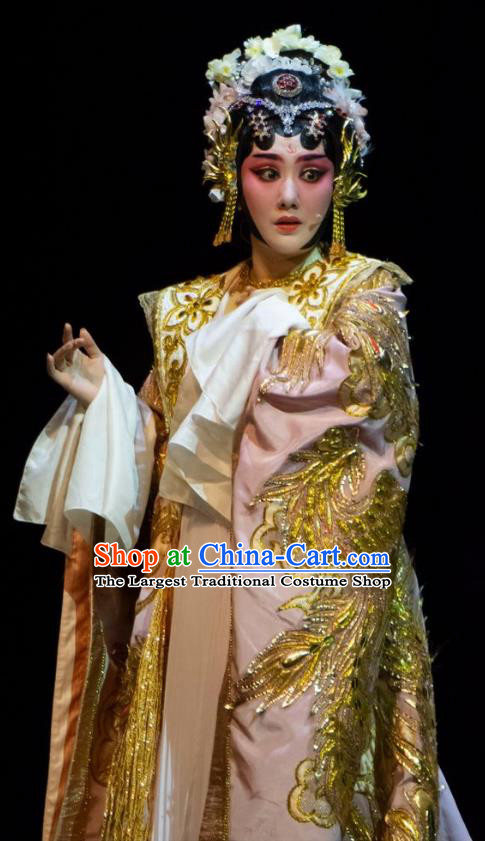 Chinese Han Opera Hua Tan Garment Ni Chang Chang Ge Costumes and Headdress Traditional Hubei Hanchu Opera Imperial Concubine Apparels Young Female Dress