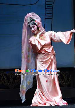 Chinese Han Opera Diva Yang Yuhuan Garment Ni Chang Chang Ge Costumes and Headdress Traditional Hubei Hanchu Opera Hua Tan Apparels Imperial Concubine Dress