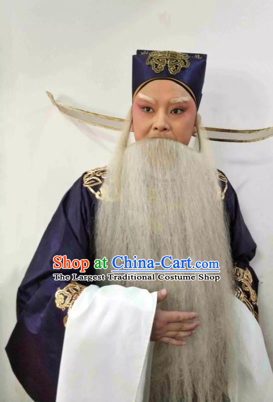 Liu Bei Zhao Qin Chinese Hubei Hanchu Opera Elderly Male Apparels Costumes and Headpieces Traditional Han Opera Laosheng Garment Official Qiao Xuan Clothing