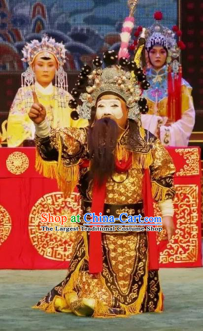 Liu Bei Zhao Qin Chinese Hubei Hanchu Opera Military Officer Apparels Costumes and Headpieces Traditional Han Opera Clown Garment Warrior Clothing