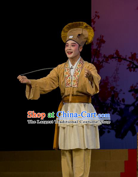 Shi Qi Chinese Hubei Hanchu Opera Young Male Apparels Costumes and Headpieces Traditional Han Opera Garment Merchant Tang Er Clothing