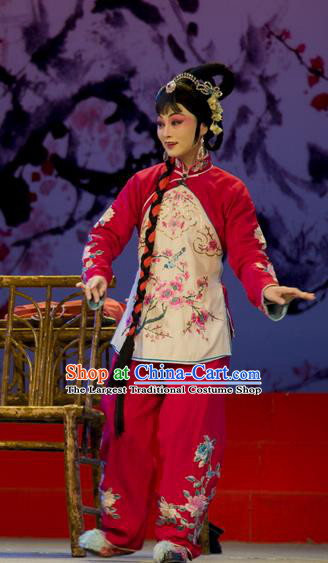 Chinese Han Opera Young Woman Garment Shi Qi Costumes and Headdress Traditional Hubei Hanchu Opera Diva Yu Lan Apparels Actress Dress