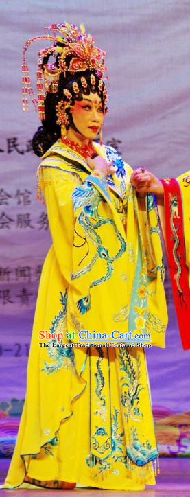 Chinese Cantonese Opera Actress Yang Yuhuan Garment The Long Regret Costumes and Headdress Traditional Guangdong Opera Imperial Concubine Apparels Hua Tan Yellow Dress