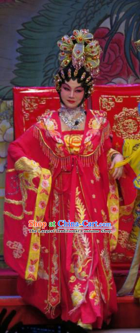 Chinese Cantonese Opera Concubine Yang Yuhuan Garment The Long Regret Costumes and Headdress Traditional Guangdong Opera Apparels Young Female Red Dress