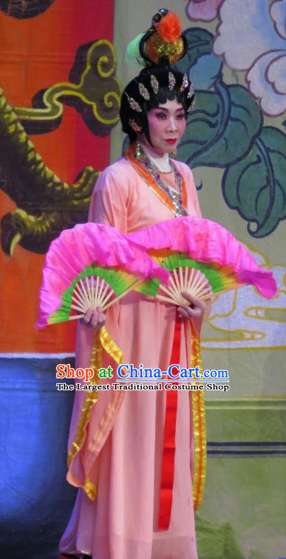 Chinese Cantonese Opera Palace Lady Garment The Long Regret Costumes and Headdress Traditional Guangdong Opera Figurant Apparels Court Maid Dress