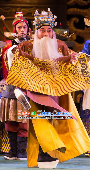 Yu Zhou Feng Chinese Hubei Hanchu Opera Laosheng Apparels Costumes and Headpieces Traditional Han Opera Minister Kuang Hong Garment Official Clothing