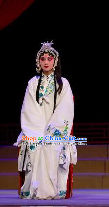 Chinese Han Opera Distress Maiden Garment Yu Zhou Feng Costumes and Headdress Traditional Hubei Hanchu Opera Diva Zhao Yanrong Apparels Young Female Dress