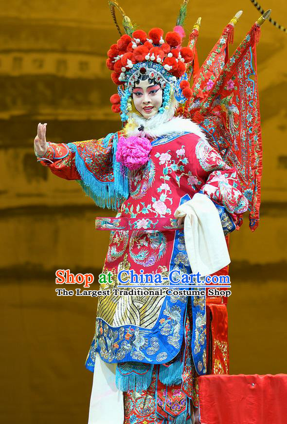 Chinese Han Opera Female General Red Kao Garment Mu Ke Zhai Costumes and Headdress Traditional Hubei Hanchu Opera Mu Guiying Apparels Tao Ma Tan Red Dress