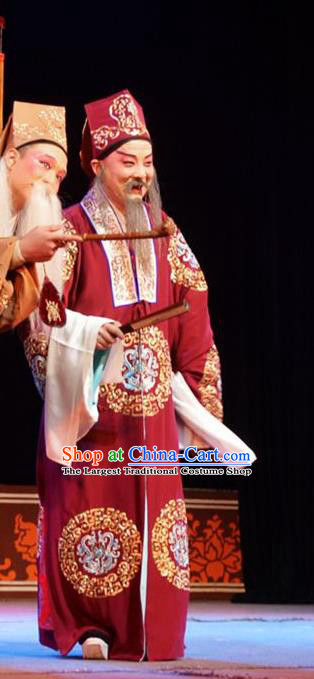 Hua Deng An Chinese Hubei Hanchu Opera Landlord Apparels Costumes and Headpieces Traditional Han Opera Elderly Male Garment Ministry Councillor Chen Cong Clothing