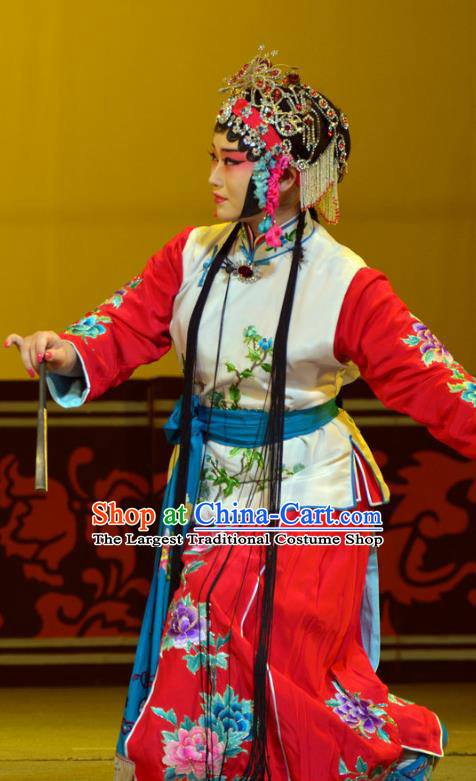 Chinese Han Opera Xiaodan Garment Hua Tian Ba Cuo Costumes and Headdress Traditional Hubei Hanchu Opera Maid Lady Apparels Servant Girl Chun Lan Dress