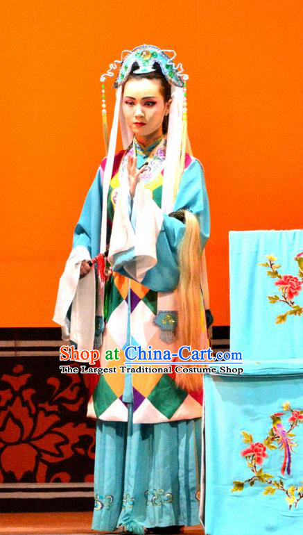 Chinese Han Opera Taoist Nun Garment Bi Zhi Fu Ke Costumes and Headdress Traditional Hubei Hanchu Opera Young Woman Apparels Actress Dress