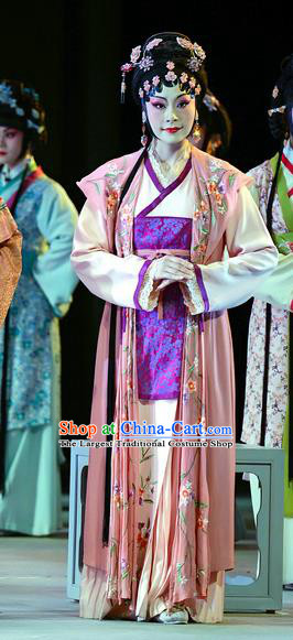 Chinese Han Opera Young Mistress Chun Mei Garment Jin Lian Costumes and Headdress Traditional Hubei Hanchu Opera Actress Apparels Dress