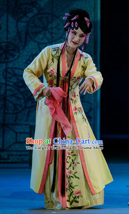 Chinese Han Opera Diva Pan Jinlian Garment Jin Lian Costumes and Headdress Traditional Hubei Hanchu Opera Young Female Apparels Hua Tan Yellow Dress